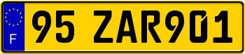 France License Plate Yellow
