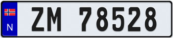 Norway European License Plate